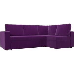 Угловой диван Лига Диванов Оливер микровельвет фиолетовый правый угол угловой диван лига диванов хавьер микровельвет черный фиолетовый правый угол