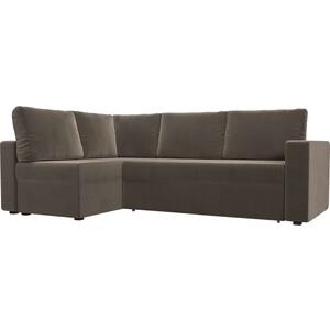 Угловой диван Лига Диванов Оливер велюр коричневый левый угол угловой диван лига диванов оливер рогожка корчневый левый угол