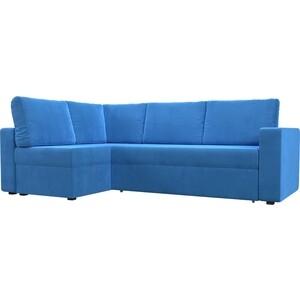 Угловой диван Лига Диванов Оливер велюр синий левый угол угловой диван лига диванов оливер рогожка корчневый левый угол