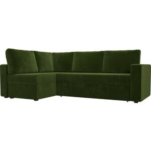 Угловой диван Лига Диванов Оливер микровельвет зеленый левый угол угловой диван лига диванов оливер рогожка корчневый левый угол