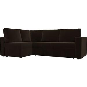 Угловой диван Лига Диванов Оливер микровельвет коричневый левый угол угловой диван лига диванов оливер микровельвет черный левый угол