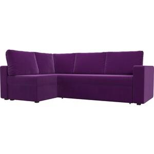 Угловой диван Лига Диванов Оливер микровельвет фиолетовый левый угол угловой диван лига диванов оливер рогожка корчневый левый угол