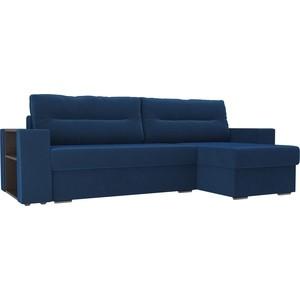 Угловой диван Лига Диванов Эридан велюр синий правый угол угловой диван лига диванов оливер велюр синий правый угол