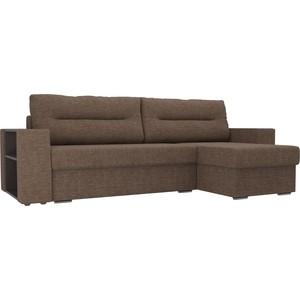 Угловой диван Лига Диванов Эридан рогожка коричневый правый угол угловой диван лига диванов эридан рогожка коричневый правый угол