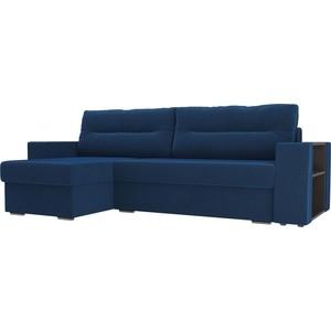 цена на Угловой диван Лига Диванов Эридан велюр синий левый угол