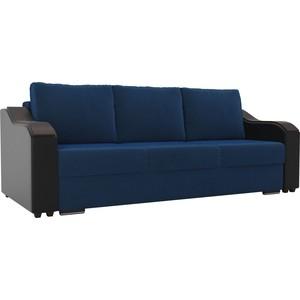 Прямой диван Лига Диванов Монако велюр синий подлокотники экокожа черные