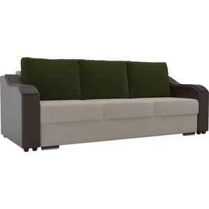 Прямой диван Лига Диванов Монако микровельвет бежевый подлокотники экокожа коричневые подушки зеленый