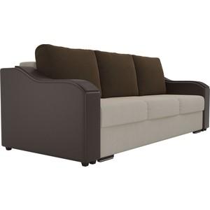 Прямой диван Лига Диванов Монако микровельвет бежевый подлокотники экокожа коричневые подушки коричневый
