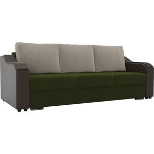 Прямой диван Лига Диванов Монако микровельвет зеленый подлокотники экокожа коричневые подушки бежевый