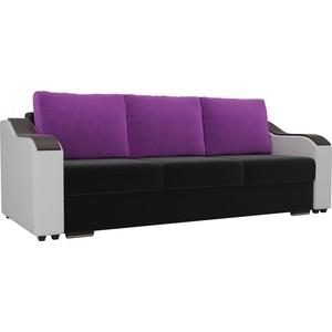 Прямой диван Лига Диванов Монако микровельвет черный подлоктники экокожа белые подушки фиолетовые