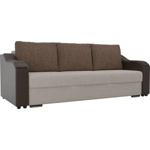 купить Прямой диван Лига Диванов Монако рогожка бежевый подлокотники экокожа коричневые подушки рогожка коричневые по цене 25167.5 рублей