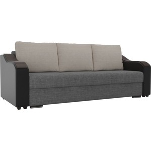 Прямой диван Лига Диванов Монако рогожка серый подлокотники экокожа черные подушки бежевые