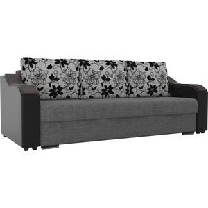 Прямой диван Лига Диванов Монако рогожка серый подлокотники экокожа черные подушки на флоке