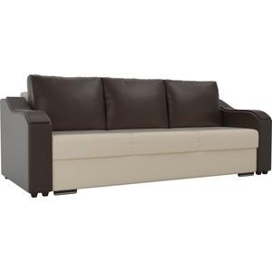 купить Прямой диван Лига Диванов Монако экокожа бежевый подлокотники коричневые подушки коричневые по цене 25167.5 рублей