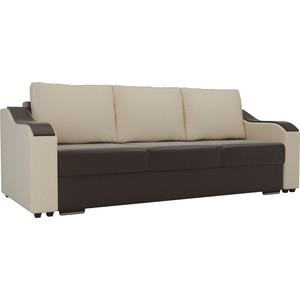 Прямой диван Лига Диванов Монако экокожа коричневый подлокотники бежевые подушки