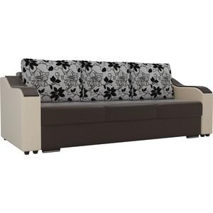 Прямой диван Лига Диванов Монако экокожа коричневый подлокотники бежевые подушки рогожка на флоке