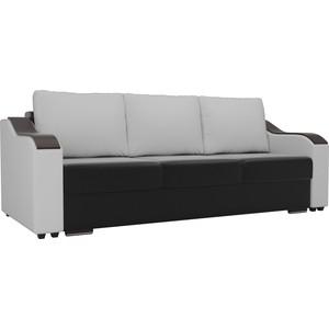 Прямой диван Лига Диванов Монако экокожа черный подлокотники белые подушки