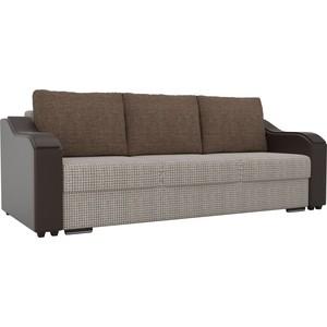 Прямой диван Лига Диванов Монако корфу 02 подлокотники экокожа коричневые подушки рогожка коричневая