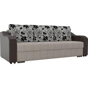 Прямой диван Лига Диванов Монако корфу 02 подлокотники экокожа коричневые подушки рогожка на флоке фото