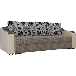 Прямой диван Лига Диванов Монако корфу 03 подлокотники экокожа бежевые подушки рогожка на флоке