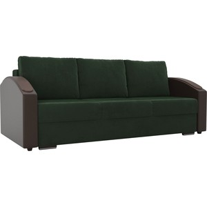 Прямой диван Лига Диванов Монако slide велюр зеленый подлкотники экокожа коричневые