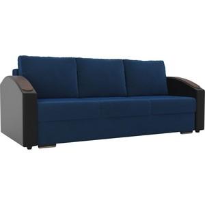 Прямой диван Лига Диванов Монако slide велюр синий подлокотники экокожа черные