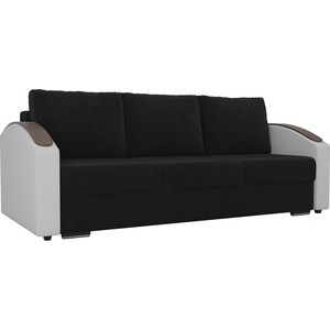 Прямой диван Лига Диванов Монако slide велюр черный подлокотники экокожа белые