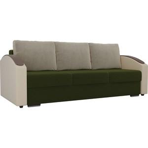 Прямой диван Лига Диванов Монако slide микровельвет зеленый подлокотники экокожа коричневые подушки бежевый