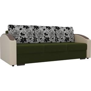 Прямой диван Лига Диванов Монако slide микровельвет зеленый подлокотники экокожа коричневые подушки рогожка на флоке прямой диван лига диванов монако slide велюр бежевый подлокотники экокожа коричневые