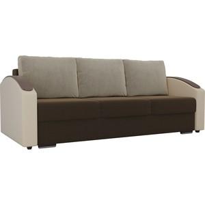 Прямой диван Лига Диванов Монако slide микровельвет коричневый подлокотники экокожа бежевые подушки микровельвет бежевый