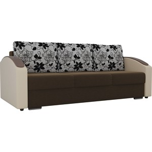 Прямой диван Лига Диванов Монако slide микровельвет коричневый подлокотники экокожа бежевые подушки рогожка на флоке