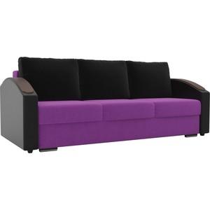 Прямой диван Лига Диванов Монако slide микровельвет фиолетовый подлкотники экокожа черные подушки