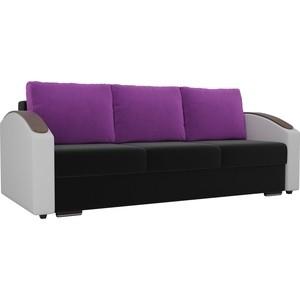 Прямой диван Лига Диванов Монако slide микровельвет черный подлоктники экокожа белые подушки фиолетовые