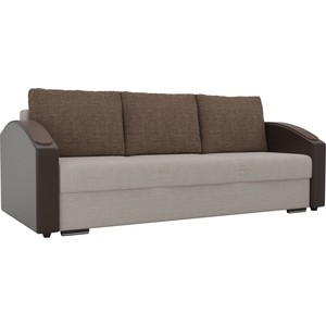 купить Прямой диван Лига Диванов Монако slide рогожка бежевый подлокотники экокожа коричневые подушки рогожка коричневые по цене 25167.5 рублей
