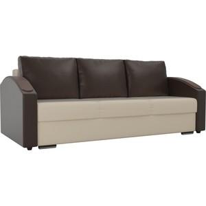 Прямой диван Лига Диванов Монако slide экокожа бежевый подлокотники коричневые подушки коричневые фото