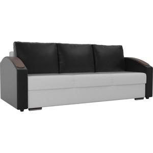 Прямой диван Лига Диванов Монако slide экокожа белый подлокотники черные подушки черные фото