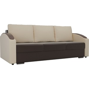 Прямой диван Лига Диванов Монако slide экокожа коричневый подлокотники бежевые подушки бежевые фото
