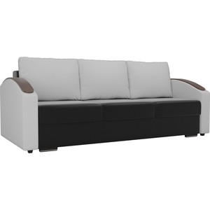 Прямой диван Лига Диванов Монако slide экокожа черный подлокотники белые подушки белые
