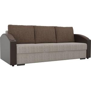 Прямой диван Лига Диванов Монако slide корфу 02 подлокотники экокожа коричневые подушки рогожка коричневая