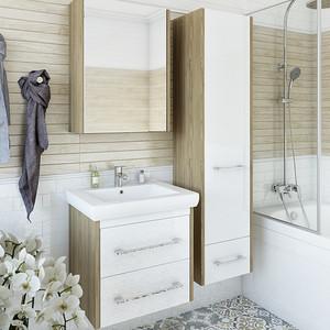 Мебель для ванной Sanflor Ларго 60 швейцарский вяз\белый, подвесная