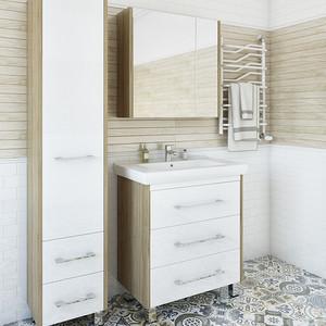 Мебель для ванной Sanflor Ларго 70 швейцарский вяз\белый, напольная