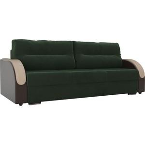 Прямой диван Лига Диванов Дарси велюр зеленый подлкотники экокожа коричневые