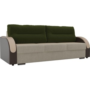 Прямой диван Лига Диванов Дарси микровельвет бежевый подлокотники экокожа коричневые подушки зеленый
