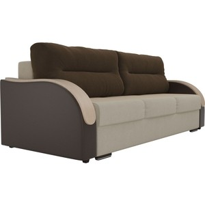 Прямой диван Лига Диванов Дарси микровельвет бежевый подлокотники экокожа коричневые подушки коричневый