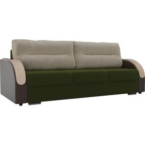Прямой диван Лига Диванов Дарси микровельвет зеленый подлокотники экокожа коричневые подушки бежевый