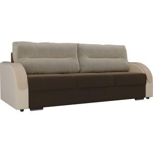 Прямой диван Лига Диванов Дарси микровельвет коричневый подлокотники экокожа бежевые подушки бежевый
