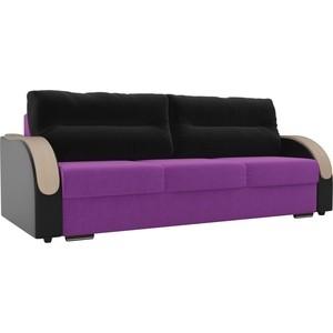 Прямой диван Лига Диванов Дарси микровельвет фиолетовый подлкотники экокожа черные подушки