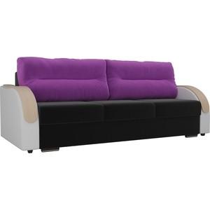 Прямой диван Лига Диванов Дарси микровельвет черный подлоктники экокожа белые подушки фиолетовые