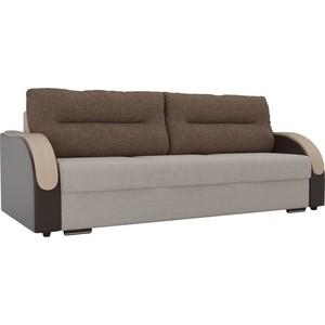 Прямой диван Лига Диванов Дарси рогожка бежевый подлокотники экокожа коричневые подушки