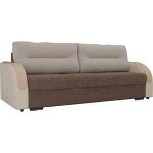 Прямой диван Лига Диванов Дарси рогожка коричневый подлокотники экокожа бежевые подушки рогожка бежевая фото